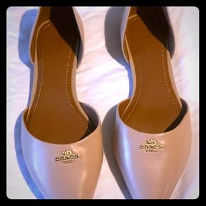 Coach pointy toed nude flats.